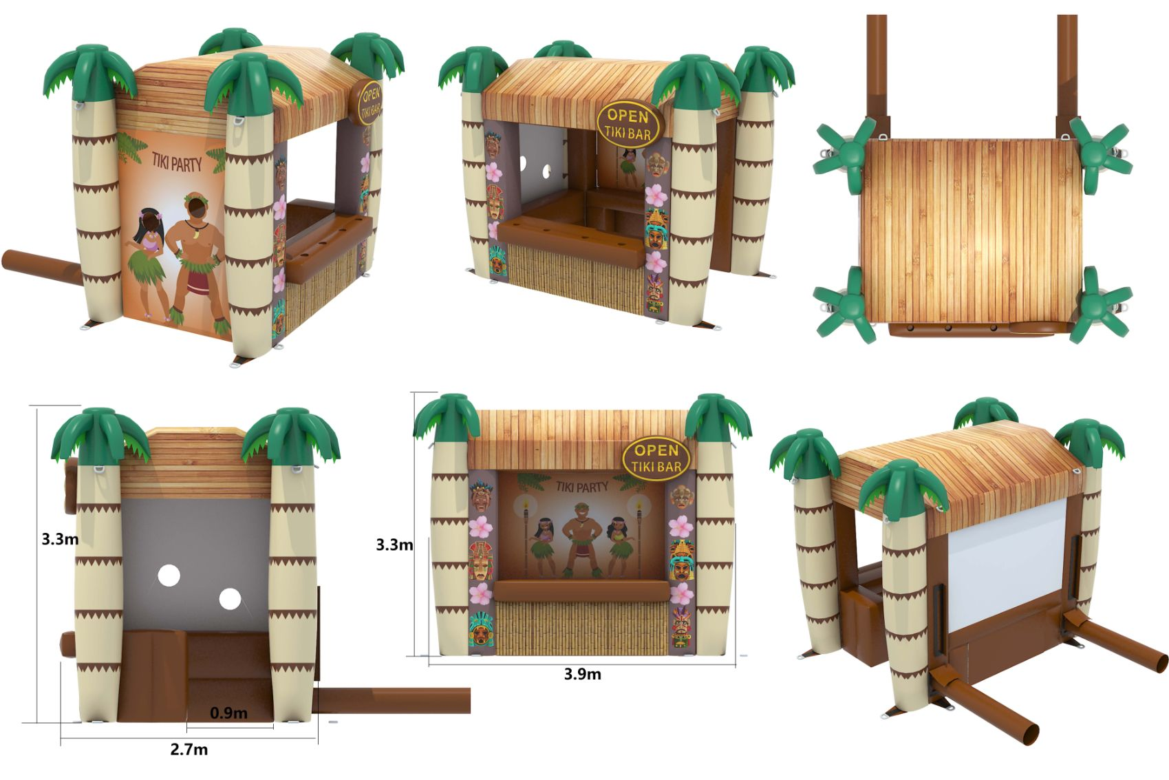 Bbol 104 9x13x11ft Inflatable Bar Pub Brown And Cream Tiki Bouncy Castle Manufacture Sales In United Kingdom Leeds London France Spain Holland Europe Ireland